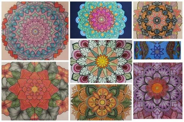 Ana Maria Cruz-Valderramalearned about mandalas in her art therapy class at Algonquin College. She says colouring the intricate designs requires attention and focus, which also relieves anxiety. (Submitted by Ana Maria Cruz-Valderrama - image credit)