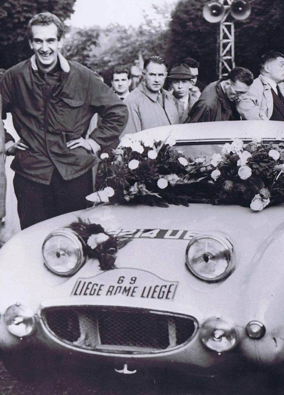 At the Liege-Rome-Liege event in 1960 (Healey Museum archive)