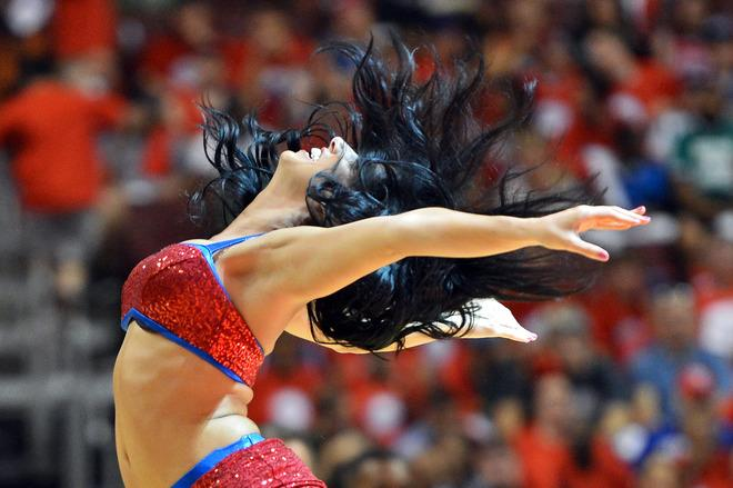 PHILADELPHIA, PA - MAY 16: A Philadelphia 76ers Dream Team dancer performs during the game against the Boston Celtics in Game Three of the Eastern Conference Semifinals in the 2012 NBA Playoffs at the Wells Fargo Center on May 16, 2012 in Philadelphia, Pennsylvania. NOTE TO USER: User expressly acknowledges and agrees that, by downloading and or using this photograph, User is consenting to the terms and conditions of the Getty Images License Agreement. (Photo by Drew Hallowell/Getty Images)