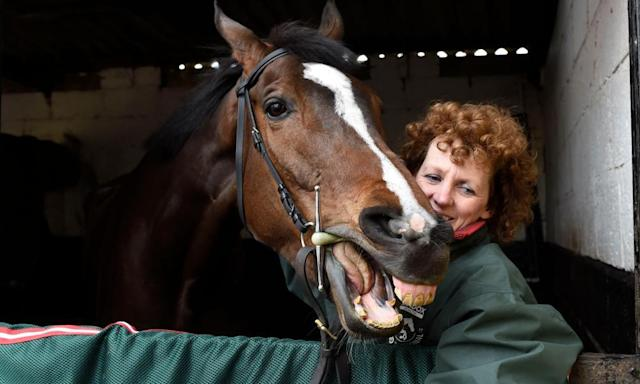 """<span class=""""element-image__caption"""">One For Arthur preparing for a victory parade with his trainer Lucinda Russell at her yard in Kinross on Sunday. </span> <span class=""""element-image__credit"""">Photograph: Ian Rutherford/PA</span>"""
