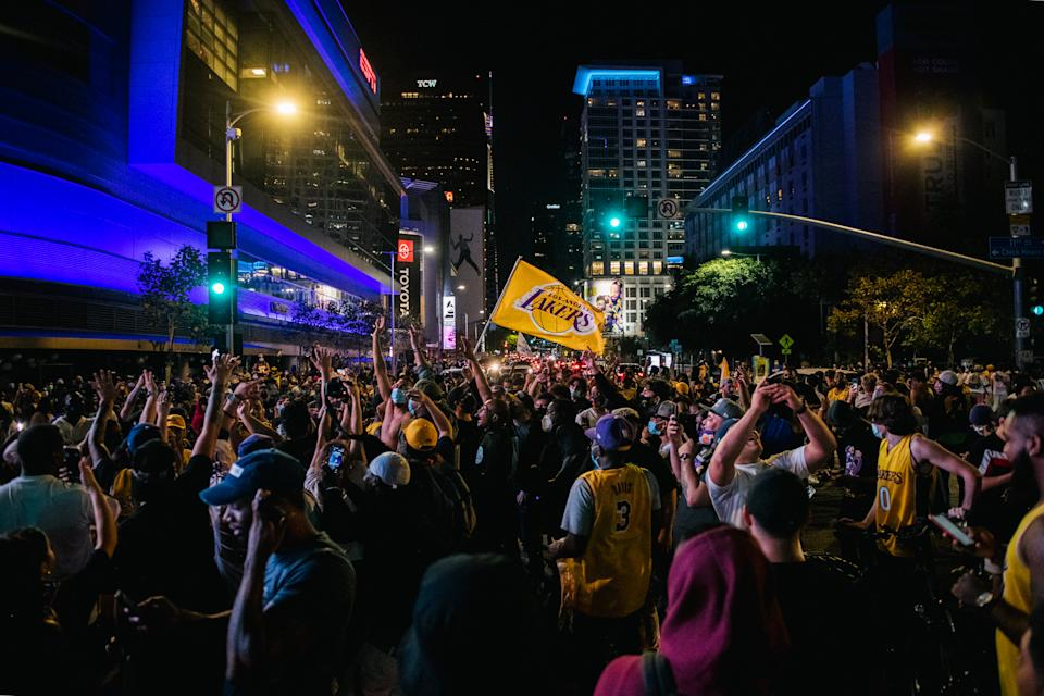 Lakers fans celebrate in front of the Staples Center after winning the 2020 NBA Finals