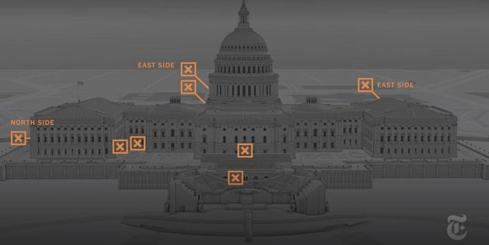 An image of the Capitol with orange markers where The New York Times found rioters broke in on January 6.