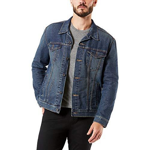 """<p><strong>Signature by Levi Strauss & Co. Gold Label</strong></p><p>amazon.com</p><p><strong>$32.99</strong></p><p><a href=""""https://www.amazon.com/dp/B07D1NTS6T?tag=syn-yahoo-20&ascsubtag=%5Bartid%7C2139.g.19541496%5Bsrc%7Cyahoo-us"""" target=""""_blank"""">BUY IT HERE</a></p><p>While a raw denim jacket might feel too stiff and uncomfortable for muscular guys with bulging biceps, this best-seller on Amazon incorporates stretch for movement with ease and comes with an affordable price tag to boot. </p>"""