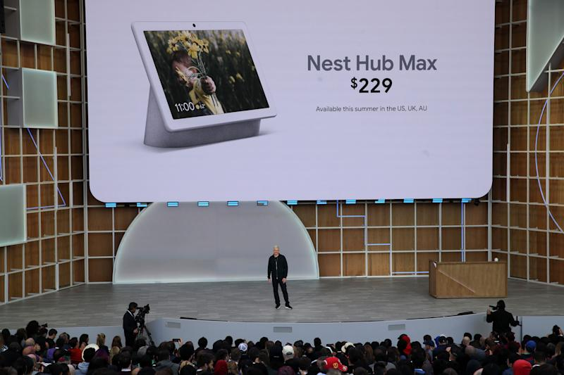 MOUNTAIN VIEW, CALIFORNIA - MAY 07: Google SVP of Devices and Services Rick Osterloh announces the new Nest Hub Max during the keynote address at the 2019 Google I/O conference at Shoreline Amphitheatre on May 07, 2019 in Mountain View, California. The annual Google I/O Conference runs through May 8. (Photo by Justin Sullivan/Getty Images)