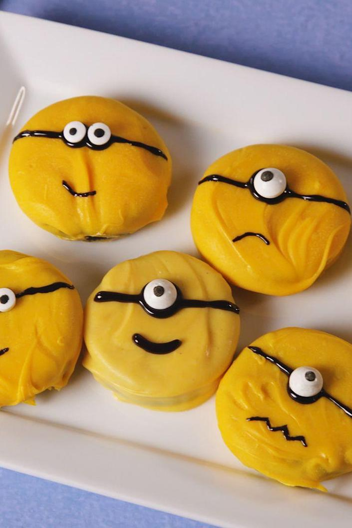 """<p>Your best sidekick.</p><p>Get the recipe from <a rel=""""nofollow noopener"""" href=""""https://www.delish.com/cooking/recipe-ideas/recipes/a57774/minion-oreos-recipe/"""" target=""""_blank"""" data-ylk=""""slk:Delish"""" class=""""link rapid-noclick-resp"""">Delish</a>.</p><p><strong><em>BUY NOW: Candy Eyes, $14, <a rel=""""nofollow noopener"""" href=""""https://www.amazon.com/Festival-Candy-Treat-Toppers-Ounce/dp/B00IF8B3OG?tag=delish_auto-append-20&ascsubtag=[artid 1782.a.57774[src """" target=""""_blank"""" data-ylk=""""slk:amazon.com"""" class=""""link rapid-noclick-resp"""">amazon.com</a>.</em></strong></p>"""