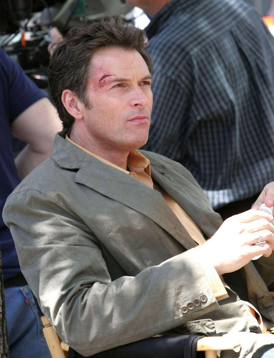 <p>Tim Daly, who played the drug-addicted screenwriter J.T. Dolan, waits on set in special effects makeup before filming a scene. </p>