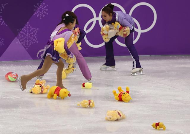 <p><strong>THE GOOD</strong><br>Winnie the Pooh:<br>Winnie the Pooh bears were thrown for Yuzuru Hanyu of Japan after the Men's Single Free Program. It became a thing. (Getty Images) </p>