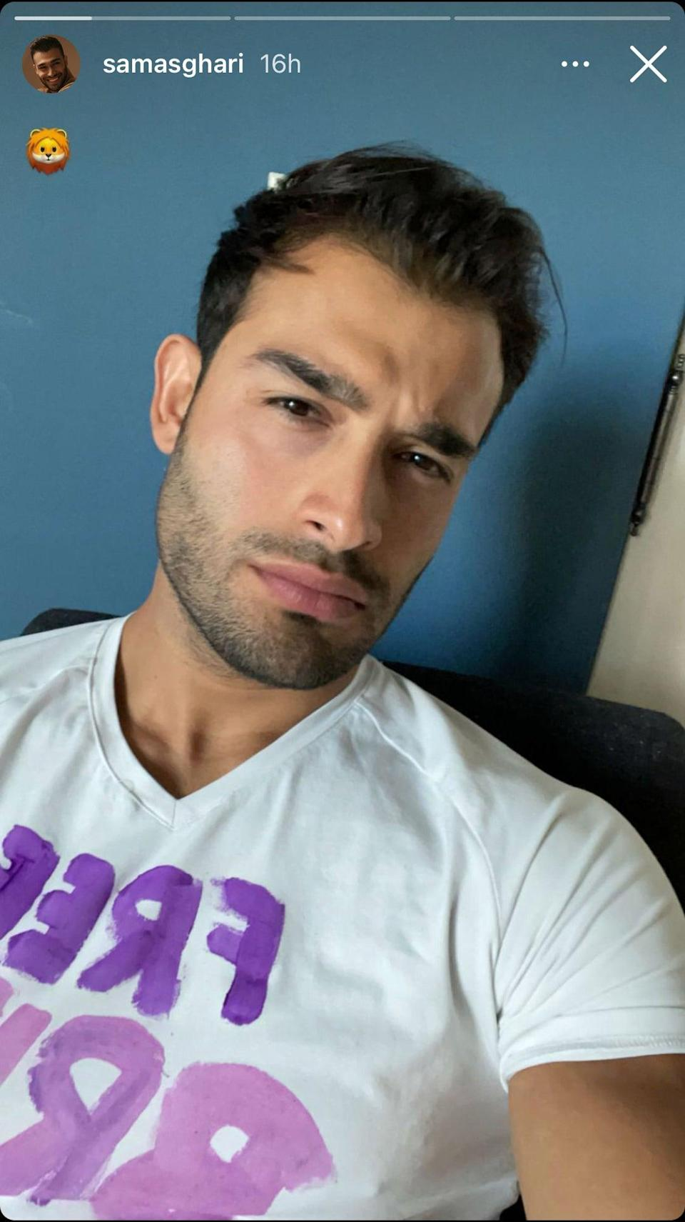 Britney Spears' boyfriend, Sam Asghari, posts a selfie on his Instagram account in which he appears to be wearing a pink and purple 'Free Britney' t-shirt, ahead of her court appearance on Wednesday 23 June 2021 (Sam Asghari/Instagram)