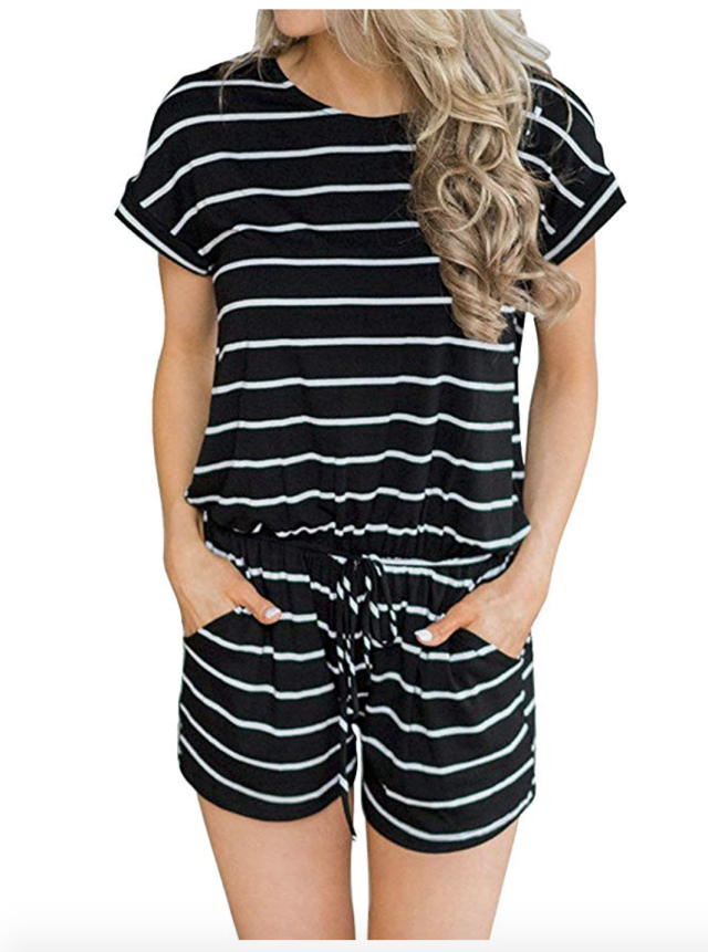 Hount Women's Summer Short Sleeve Romper Casual Loose Stirped Short Rompers Jumpsuits with Pockets