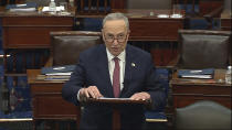 In this image from video, Senate Majority Leader Chuck Schumer of N.Y., speaks after the Senate acquitted former President Donald Trump in his second impeachment trial in the Senate at the U.S. Capitol in Washington, Saturday, Feb. 13, 2021. Trump was accused of inciting the Jan. 6 attack on the U.S. Capitol, and the acquittal gives him a historic second victory in the court of impeachment. (Senate Television via AP)