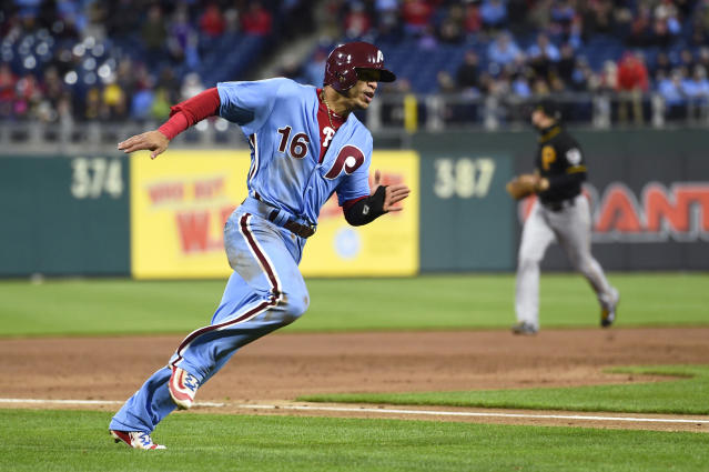 "<a class=""link rapid-noclick-resp"" href=""/mlb/teams/phi"" data-ylk=""slk:Philadelphia Phillies"">Philadelphia Phillies</a>' Cesar Hernandez has been a steal for his fantasy owners (AP Photo)."