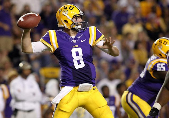 LSU quarterback Zach Mettenberger (8) throws the ball during the second quarter of the NCAA college football game against Furman in Baton Rouge, La., Saturday, Oct, 26, 2013. (AP Photo/Jonathan Bachman)