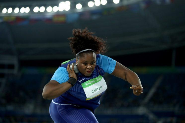 Michelle Carter competes in the women's shot put final on Day 7 of the Rio 2016 Olympic Games. (Photo: Getty Images)