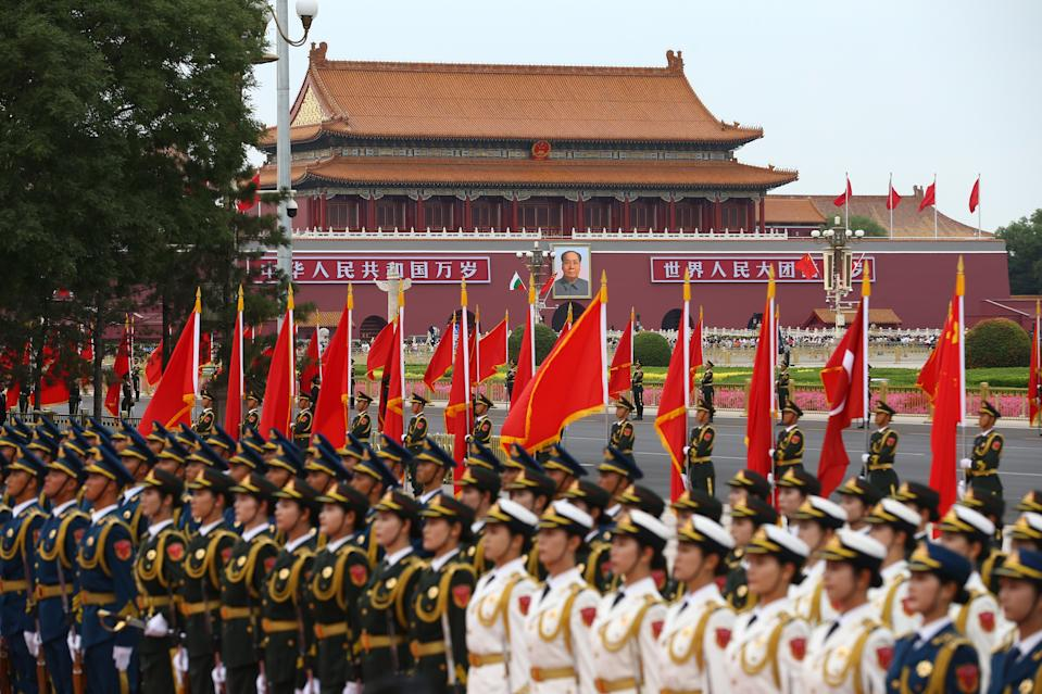BEIJING, CHINA - JULY 2: Chinese People's Liberation Army honor guards are seen ahead of official welcoming ceremony for President of Turkey, Recep Tayyip Erdogan, at Great Hall of the People in Beijing, China on July 02, 2019. (Photo by Volkan Furuncu/Anadolu Agency/Getty Images)