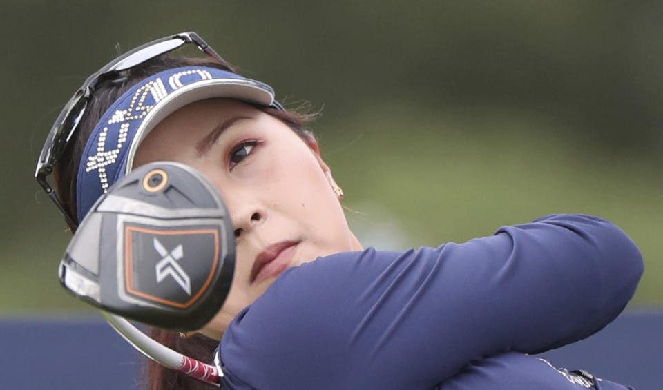 Japan's Serena Aoki rlines hits her driver off the 14th tee during the second round of the Women's British Open golf championship, in Carnoustie, Scotland, Friday, Aug. 20, 2021. (AP Photo/Scott Heppell)