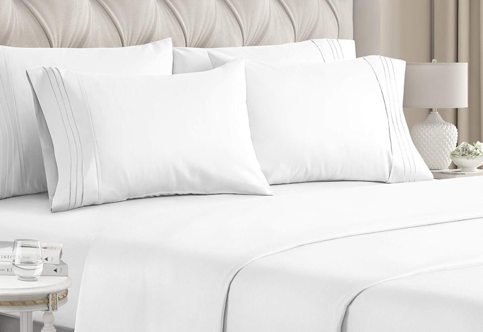 """<h2>Cooling Brushed Microfiber Sheet Set</h2><br>The <em>perfect</em> sheets need to cover the following bases: affordable, quality, and customer approved — and not only does this brushed microfiber set hit all three of those bases, but it also brings a 27%-off discount to the shopping table too. The over 30,000 reviews liken the affordable bundle to """"sleeping on butter!"""".<br><br><strong>4.5 out of 5 stars and 34,018 reviews</strong><br><br><strong>CGK Unlimited</strong> Cooling Brushed Microfiber Sheet Set, $, available at <a href=""""https://amzn.to/3dnbuZE"""" rel=""""nofollow noopener"""" target=""""_blank"""" data-ylk=""""slk:Amazon"""" class=""""link rapid-noclick-resp"""">Amazon</a>"""