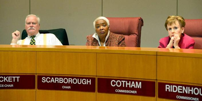 Mecklenburg County Board of Commissioner Ella Scarborough at a 2018 meeting.