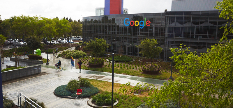 The outside of Google's campus.