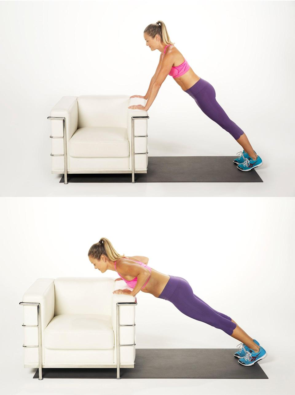 """<p>This modified push-up is recommended by Steven Mack, a certified strength and conditioning specialist at <a href=""""https://www.simplesolutionsfitness.com/"""" class=""""link rapid-noclick-resp"""" rel=""""nofollow noopener"""" target=""""_blank"""" data-ylk=""""slk:Simple Solution Fitness"""">Simple Solution Fitness</a>, who said it's a great way to teach your shoulders how to move properly in a push-up motion.</p> <ul> <li>Begin in a high plank with your hands on an elevated surface, like a bench, a couch, a sturdy chair, or a stair. (The lower the surface, the harder the move will be.) Your hands should be under your shoulders, your core pulled in toward your spine, and your back flat.</li> <li>Bend your elbows, lowering your chest to about elbow height with your triceps parallel to your ribs. Keep your core pulled in throughout the movement.</li> <li>Drive through your hands to push away from the surface until your arms are straight and you're back in the high plank position.</li> <li>This counts as one rep.</li> </ul>"""