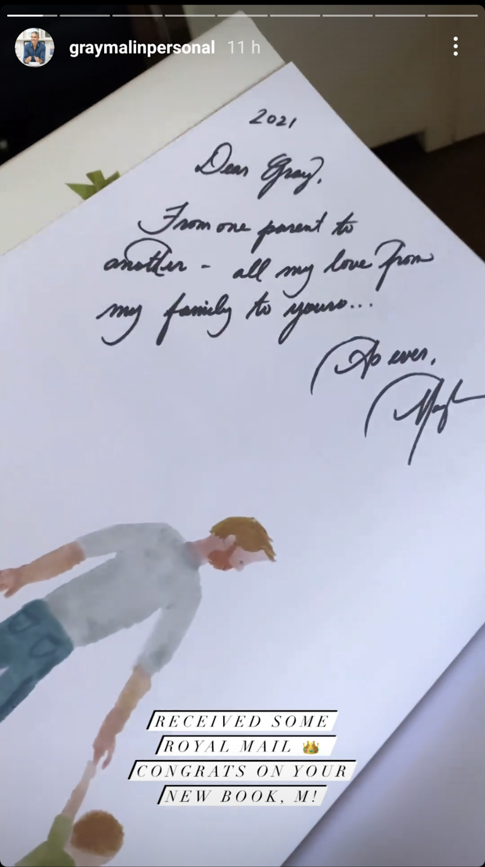 The duchess wrote him a special note with the copy of the book. (Gray Malin/Instagram)