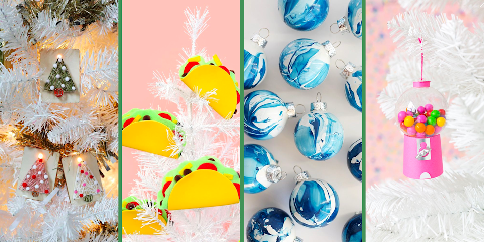 """<p>Chances are you have a big box of <a href=""""https://www.oprahmag.com/life/g23939784/christmas-decorations-ideas/"""" rel=""""nofollow noopener"""" target=""""_blank"""" data-ylk=""""slk:holiday decorations"""" class=""""link rapid-noclick-resp"""">holiday decorations</a> and ornaments that are totally <a href=""""https://www.oprahmag.com/life/g29114554/christmas-tree-decorating-ideas/"""" rel=""""nofollow noopener"""" target=""""_blank"""" data-ylk=""""slk:worthy of a space on your tree"""" class=""""link rapid-noclick-resp"""">worthy of a space on your tree</a>—like vintage baubles you've collected from family members or even the <a href=""""https://www.oprahmag.com/life/g24645170/pickle-ornament-meaning/"""" rel=""""nofollow noopener"""" target=""""_blank"""" data-ylk=""""slk:infamous pickle"""" class=""""link rapid-noclick-resp"""">infamous pickle</a>. But if you're cooped up at home this holiday season, it's the perfect time to start a new <a href=""""https://www.oprahmag.com/life/g33623616/christmas-traditions/"""" rel=""""nofollow noopener"""" target=""""_blank"""" data-ylk=""""slk:Christmas tradition"""" class=""""link rapid-noclick-resp"""">Christmas tradition</a>: making unique DIY Christmas ornaments. </p><p>Here's what we're thinking: Plan a special holiday-themed crafternoon in which each family member creates a special handmade Christmas ornament for your tree. It's a fun family activity that everyone from toddlers and preschoolers to teens and full-grown adults can participate in. Plus, it's a great excuse to stay in your <a href=""""https://www.oprahmag.com/style/g34362491/christmas-pajamas-for-women/"""" rel=""""nofollow noopener"""" target=""""_blank"""" data-ylk=""""slk:comfiest holiday pajamas"""" class=""""link rapid-noclick-resp"""">comfiest holiday pajamas</a>, crank up the <a href=""""https://www.oprahmag.com/entertainment/g29154178/best-christmas-songs/"""" rel=""""nofollow noopener"""" target=""""_blank"""" data-ylk=""""slk:holiday music"""" class=""""link rapid-noclick-resp"""">holiday music</a>, and sip on some hot cocoa (or mulled wine for the grown-ups!). </p><p>Not everyone has to make the same thing. There """