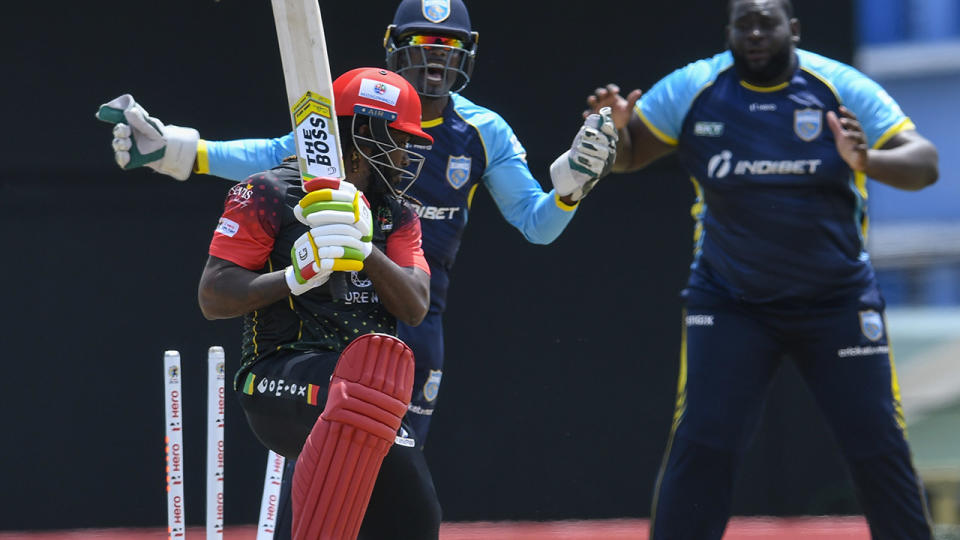 Chris Gayle, pictured here in action in the Caribbean Premier League.
