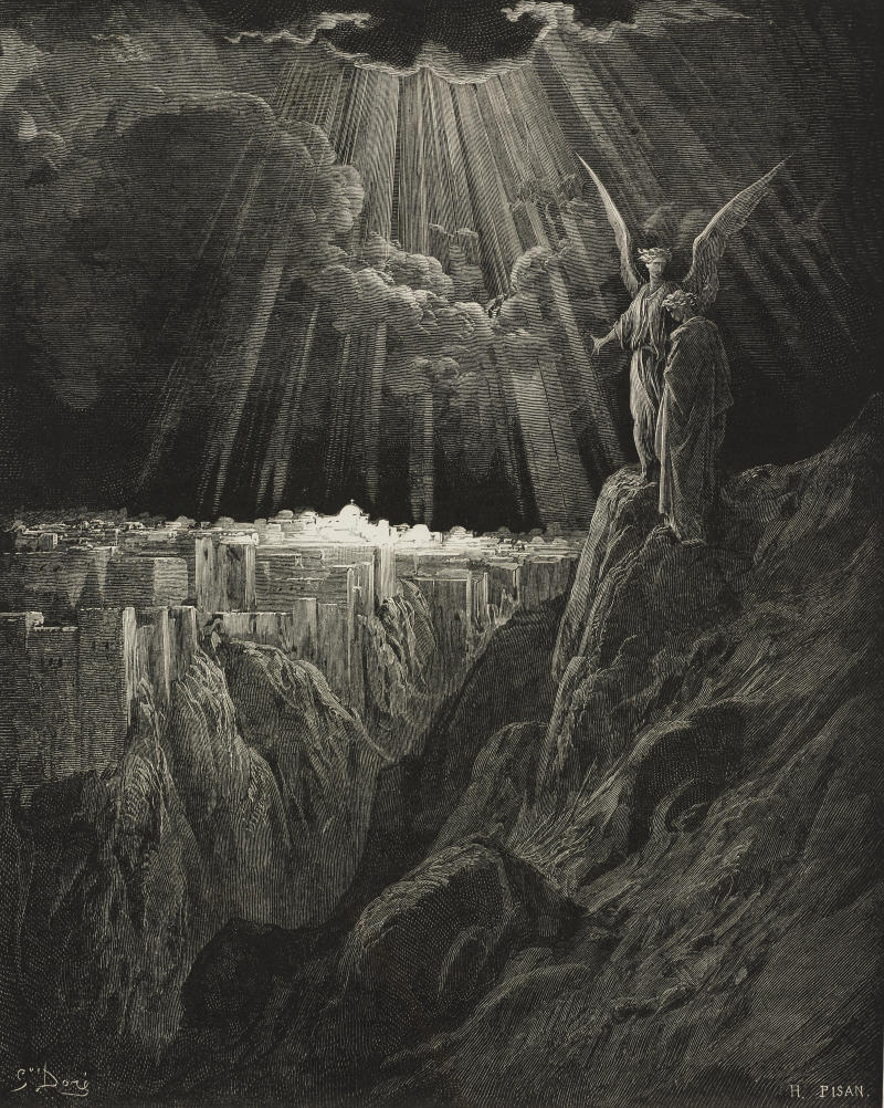 John's revelation of the New Jerusalem is imagined in this 19th-century engraving by the French artist Gustave Doré. (DEA / BIBLIOTECA AMBROSIANA via Getty Images)