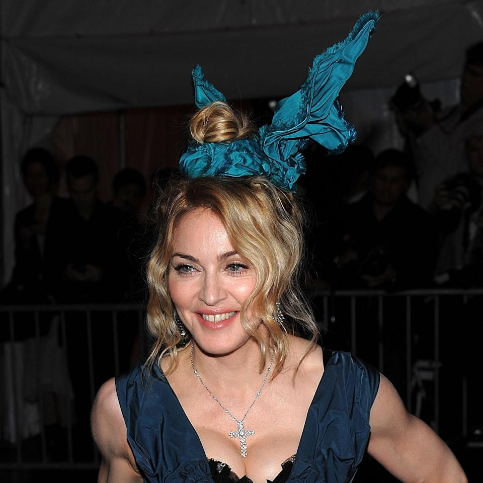 <p>Madge appeared in the Louis Vuitton fall/winter campaign this very same year wearing a similar set of bunny ears; for the ball, designer Marc Jacobs readily hopped to and crafted another pair.</p>