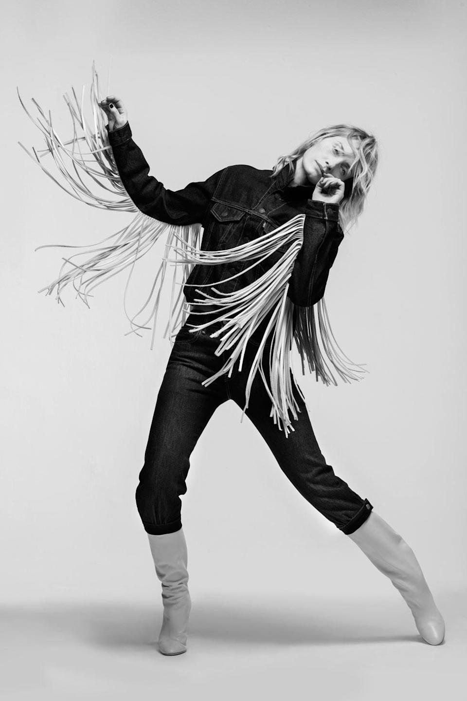 <p>Amber Valletta wears the Levi's x karla Fringe Trucker and Knickers. (Photo: Courtesy of Levi's) </p>