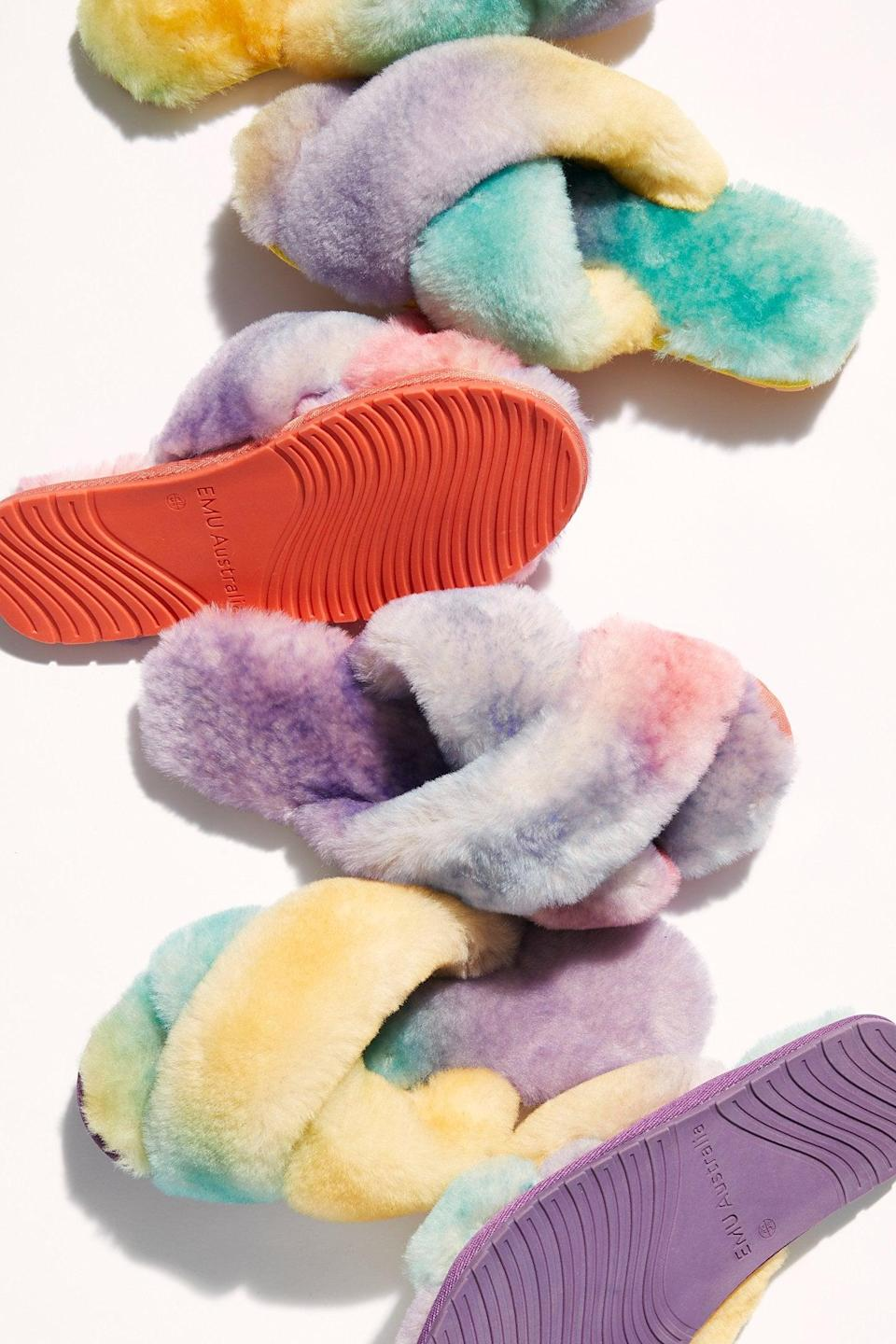 """<p>We want these amazing <a href=""""https://www.popsugar.com/buy/Tie-Dye-Mayberry-Slippers-527150?p_name=Tie-Dye%20Mayberry%20Slippers&retailer=freepeople.com&pid=527150&price=70&evar1=fab%3Aus&evar9=45460327&evar98=https%3A%2F%2Fwww.popsugar.com%2Ffashion%2Fphoto-gallery%2F45460327%2Fimage%2F46978000%2FTie-Dye-Mayberry-Slippers&list1=shopping%2Cgifts%2Cfree%20people%2Choliday%2Cgift%20guide%2Cgifts%20for%20women&prop13=api&pdata=1"""" class=""""link rapid-noclick-resp"""" rel=""""nofollow noopener"""" target=""""_blank"""" data-ylk=""""slk:Tie-Dye Mayberry Slippers"""">Tie-Dye Mayberry Slippers</a> ($70) in every color.</p>"""