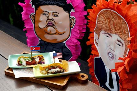 The Rocket Man Taco and the El Trumpo Taco is pictured at Lucha Loco in Singapore