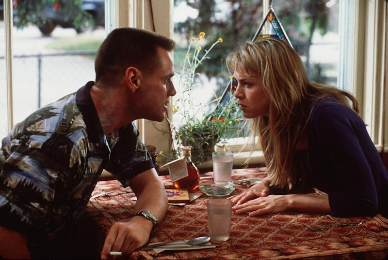 "Jim Carrey And Actress Renee Zellweger Act On The Set Of The Movie, ""Me, Myself & Irene"" Due Out In The Summer Of 2000. (Photo By Getty Images)"