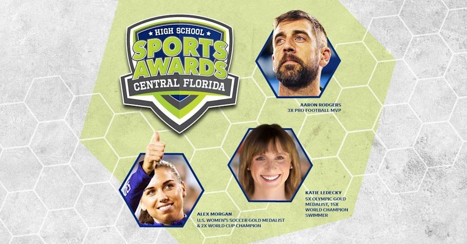 Three-time NFL MVP Aaron Rodgers, two-time FIFA World Cup Champion Alex Morgan and five-time Olympic gold medalist Katie Ledecky will be among a highly decorated group of presenters and guests for the Central Florida High School Sports Awards.