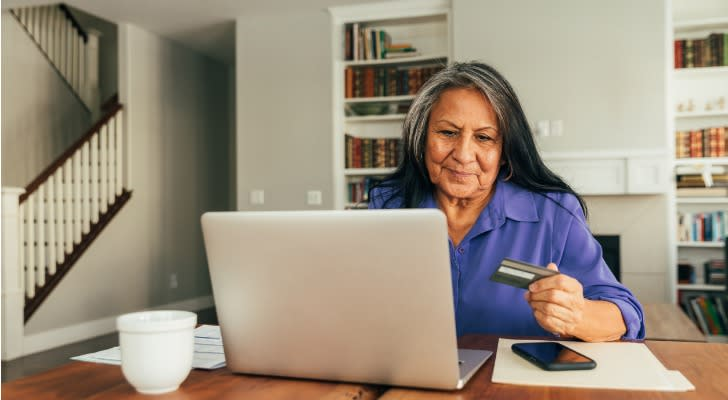 Senior woman checking her Social Security benefit