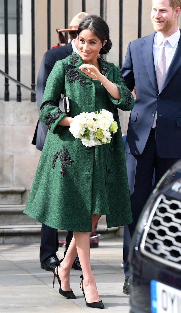 <p>For a Commonwealth Day event at Canada House in London, Meghan chose a rather apt label. The Duchess dressed in a coat and dress ensemble plucked from Erdem's AW19 line. Her go-to Aquazzura Deneuve bow pumps and black satin Givenchy clutch bag finished the look. <em>[Photo: Getty]</em> </p>