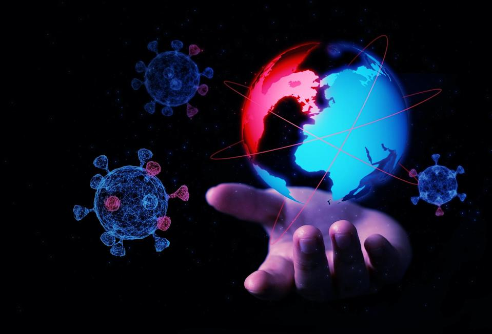 Abstract hand hold 3D virus globe illustration digital innovation futuristic technology transform evolution New normal after coronavirus crisis world life change furnished from Nasa Map (Abstract hand hold 3D virus globe illustration digital innovatio