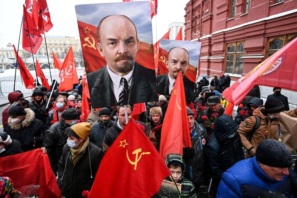 Russian Communist Party supporters walk towards the mausoleum of Lenin in January (AFP via Getty Images)