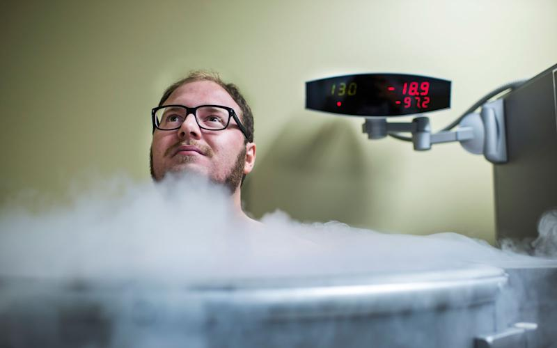 Here is another brave reporter inside the cryotherapy chamber.
