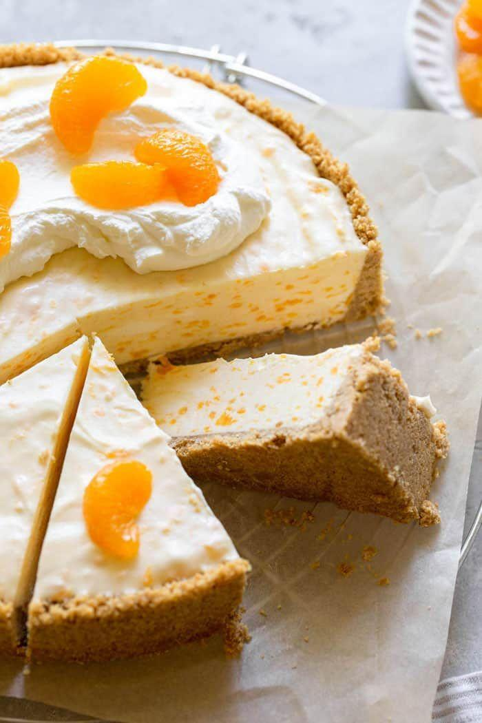 "<p>This no-bake cheesecake will transport you right back to your childhood! It's a creamy, orange-infused treat perfect for a spring celebration.</p><p><strong>Get the recipe at <a href=""https://grandbaby-cakes.com/orange-creamsicle-cheesecake/"" rel=""nofollow noopener"" target=""_blank"" data-ylk=""slk:Grandbaby Cakes"" class=""link rapid-noclick-resp"">Grandbaby Cakes</a>.</strong></p><p><strong><a class=""link rapid-noclick-resp"" href=""https://go.redirectingat.com?id=74968X1596630&url=https%3A%2F%2Fwww.walmart.com%2Fsearch%2F%3Fquery%3Dspringform%2Bpan&sref=https%3A%2F%2Fwww.thepioneerwoman.com%2Ffood-cooking%2Fmeals-menus%2Fg35408493%2Feaster-desserts%2F"" rel=""nofollow noopener"" target=""_blank"" data-ylk=""slk:SHOP SPRINGFORM PANS"">SHOP SPRINGFORM PANS</a><br></strong></p>"