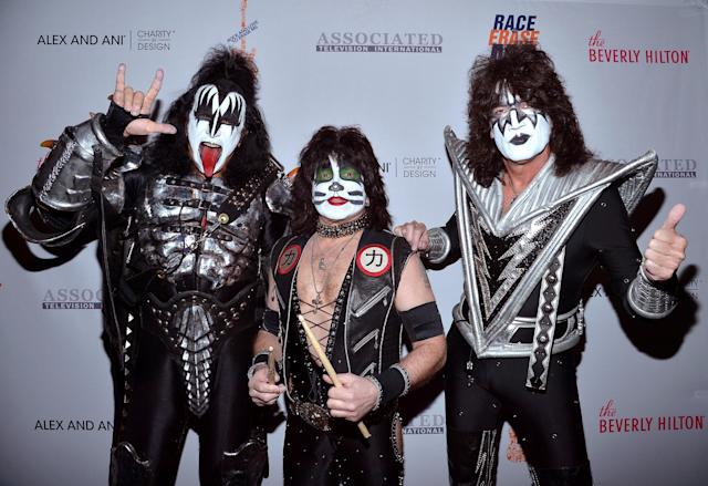 Gene Simmons, left, Eric Singer, and Tommy Thayer of KISS at the 23rd Annual Race to Erase MS Gala at the Beverly Hilton Hotel on April 15, 2016. (Photo: Charley Gallay/Getty Images for Race To Erase MS)