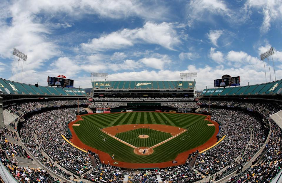 The Oakland Coliseum, home of the A's and Raiders. For now. (Getty Images)