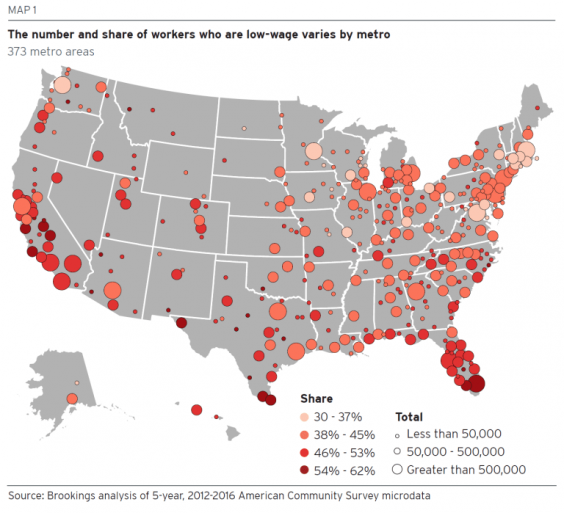 Map of low-wage prevalence in US cities (Brookings Institute)