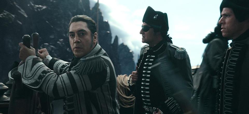 <p>Javier Bardem as Captain Salazar in a flashback scene from 'Pirates of the Caribbean: Dead Men Tell No Tales' (Photo: Disney) </p>  <p>The Walking Dread</p><p> The undead Captain Salazar (Javier Bardem) in 'Pirates of the Caribbean: Dead Men Tell No Tales' (Photo: Disney) </p>  <p>Back In Ship Shape</p><p> Javier Bardem as the living Captain Salazar in 'Pirates of the Caribbean: Dead Men Tell No Tales' (Photo: Disney)<br> </p>  <p>Message in a Bottle?</p><p> An image from 'Pirates of the Caribbean: Dead Men Tell No Tales' (Photo: Disney)<br><br><br> </p>  <p>Heat Wave</p><p> A spooky Javier Bardem as Captain Salazar in 'Pirates of the Caribbean: Dead Men Tell No Tales' (Photo: Disney)<br><br> </p>  <p>Sweet Bird of Youth</p><p> Captain Jack Sparrow (Johnny Depp) in a flashback scene, made young with the help of CGI in 'Pirates of the Caribbean: Dead Men Tell No Tales' (Photo: Disney)<br><br><br> </p>  <p>Cool vs. Ghoul</p><p> Geoffrey Rush as Barbossa (left) faces off with Javier Bardem as Captain Salazar in 'Pirates of the Caribbean: Dead Men Tell No Tales' (Photo: Disney)<br><br> </p>  <p>Keep Your Eye on the Sparrow</p><p> Johnny Depp as Captain Jack Sparrow in 'Pirates of the Caribbean: Dead Men Tell No Tales' (Photo: Disney)<br><br> </p>  <p>The New Recruit</p><p> Brenton Thwaites plays Henry, a young sailor, in 'Pirates of the Caribbean: Dead Men Tell No Tales' (Photo: Disney)<br><br> </p>