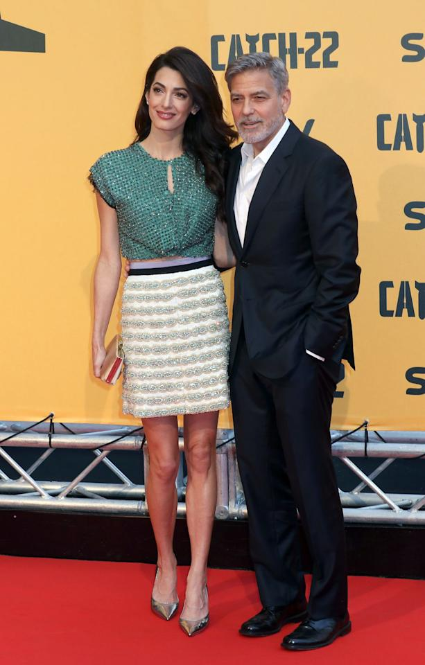 <p>Amal chose a sequined top and skirt  at an event for her husband George Clooney's new TV adaptation of the classic novel<em>Catch-22</em>.</p>