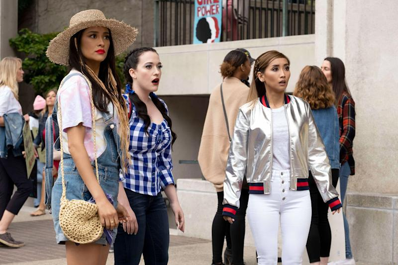 DOLLFACE, from left: Shay Mitchell, Kar Dennings, Brenda Song in 'Feminist', (Season 1, Episode 109, aired November 15, 2019) , ph: Erin Simkin / Hulu / Courtesy Everett Collection