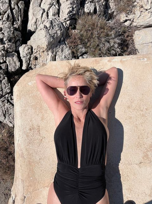 Sharon Stone in a black plunging swimsuit
