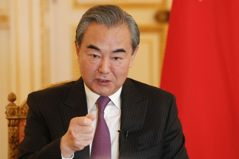 Chinese Foreign Minister Wang Yi during his AFP interview in paris (AFP Photo/GEOFFROY VAN DER HASSELT)