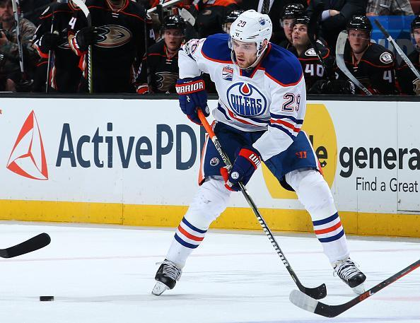 """<a class=""""link rapid-noclick-resp"""" href=""""/nhl/players/6369/"""" data-ylk=""""slk:Leon Draisaitl"""">Leon Draisaitl</a> of the Edmonton Oilers skates with the puck during the game against the <a class=""""link rapid-noclick-resp"""" href=""""/nhl/teams/ana/"""" data-ylk=""""slk:Anaheim Ducks"""">Anaheim Ducks</a> on March 22, 2017 at Honda Center in Anaheim, California. ( Getty Images)"""