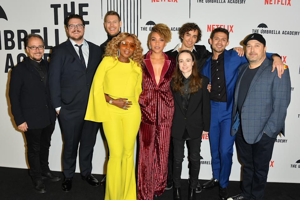 TORONTO, ONTARIO - FEBRUARY 14: (L-R) Jeff King, Cameron Britton, Tom Hopper, Mary J. Blige, Emmy Raver-Lampman, Ellen Page, Robert Sheehan, David Castaneda and Steve Blackman attend the premiere of Netflix's 'The Umbrella Academy' at TIFF Bell Lightbox on February 14, 2019 in Toronto, Canada. (Photo by George Pimentel/Getty Images for Netflix)