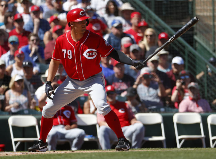 Nick Senzel can rake, and there's a need for his services in Cincy. (AP Photo/Matt York)